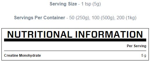 Nutritional information MYPROTEIN creatine