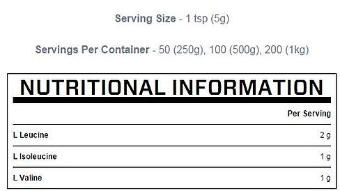 NUtritional information MYPROTEIN BCAAs