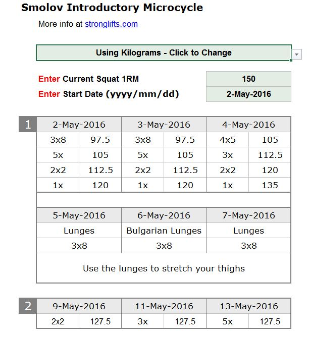 Smolov Introductory cycle 150kg example