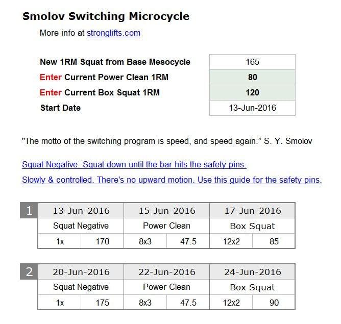 Smolov Switching Pahse 165kg example