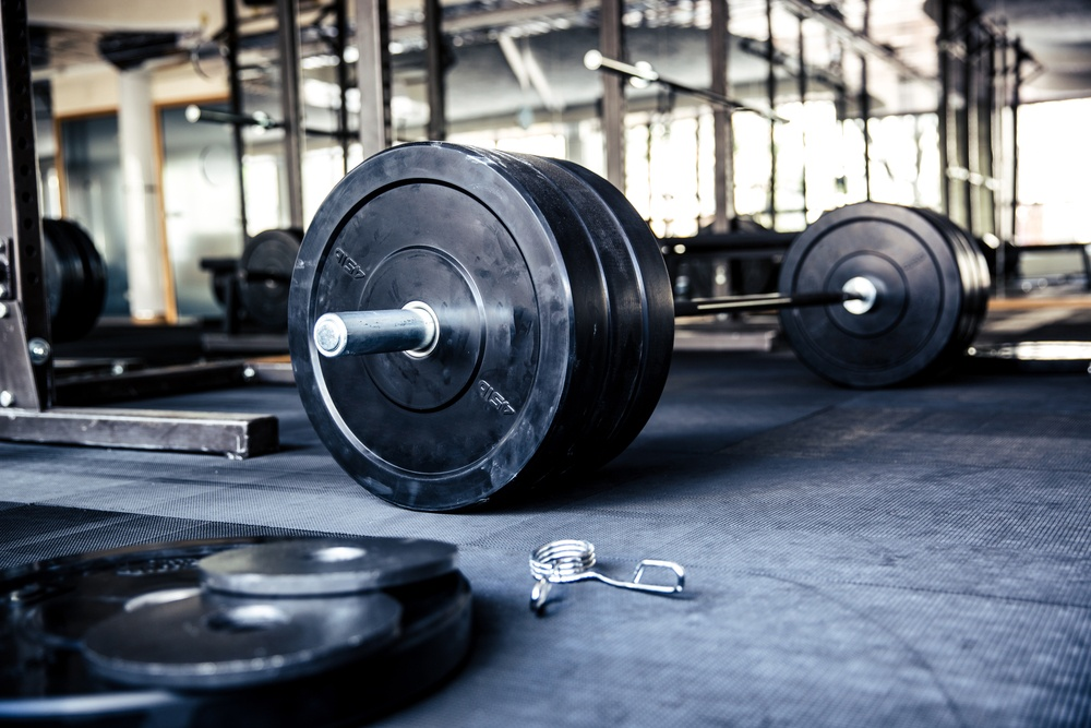 Fitness equipment in gym for squat