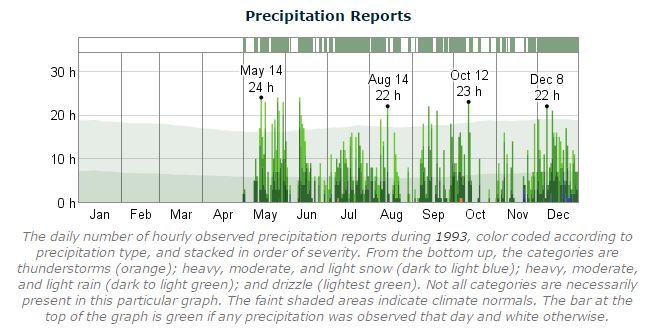 Dublin Marathon Precipitation 1993